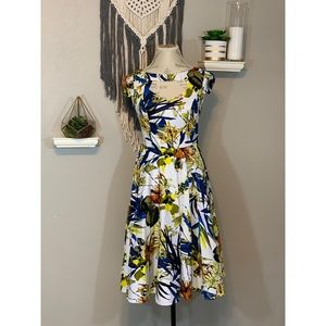 Dresses & Skirts - Funky Exotic Print Cap Sleeve Cut Out 50's Dress